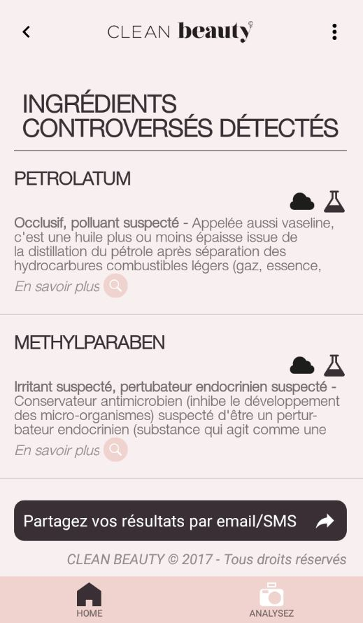 détail de produits controversés sur Clean Beauty